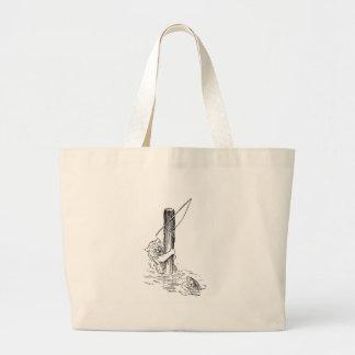 Fishing Cat Falls In Large Tote Bag