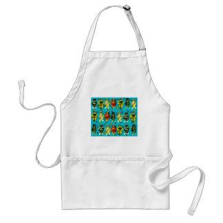 Fishing Cats Colorful Whimsical Folk Art Bag Adult Apron