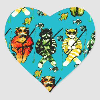 Fishing Cats Colorful Whimsical Folk Art Bag Heart Sticker