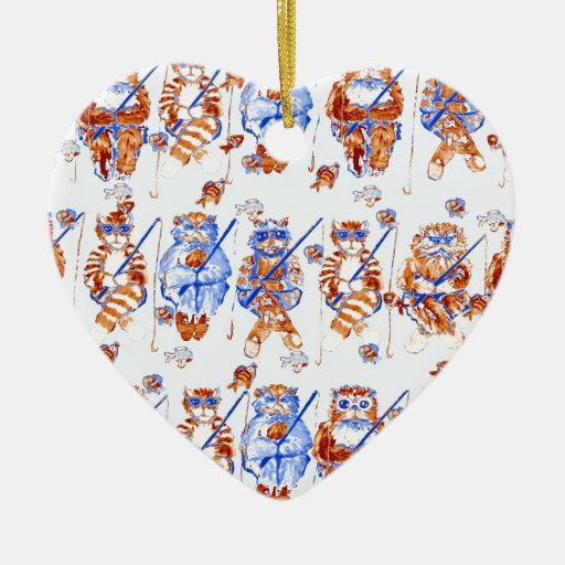 Fishing Cats Colorful Whimsical Folk Art Blue Double-Sided Heart Ceramic Christmas Ornament