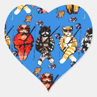 Fishing Cats Fun Colorful Whimsical Folk Art Heart Sticker