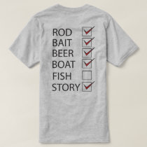 Fishing Check Off List on back Funny Light T-shirt