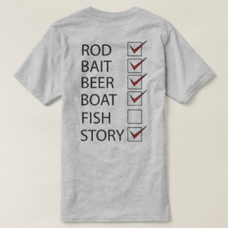Fishing Check Off List on back Funny Light T-shirt