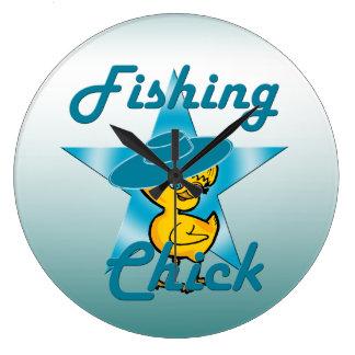 Fishing Chick #7 Large Clock
