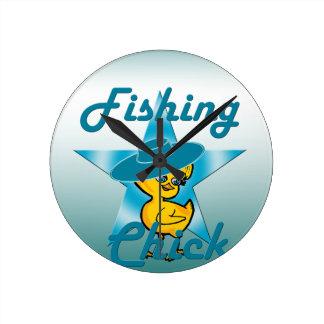 Fishing Chick #7 Round Clock