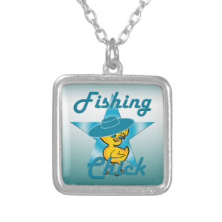 Fishing Chick #7 Silver Plated Necklace