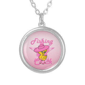 Fishing Chick #8 Silver Plated Necklace