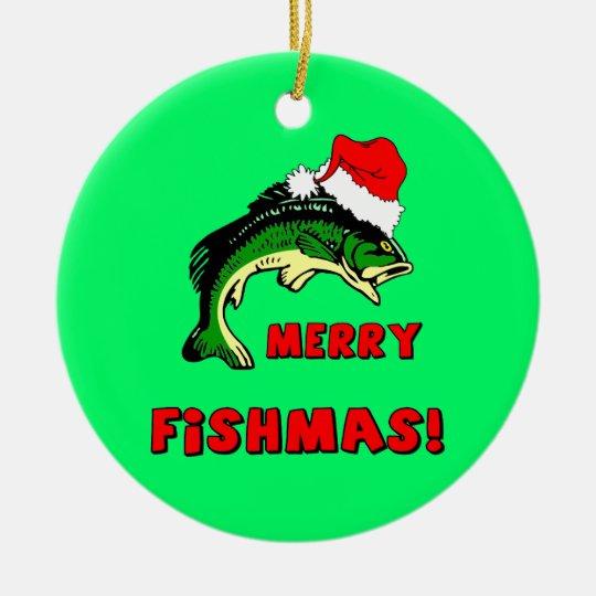 fishing Christmas Ceramic Ornament