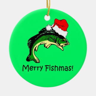 fishing Christmas Ceramic Ornament