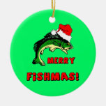 fishing Christmas Double-Sided Ceramic Round Christmas Ornament
