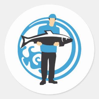 fishing classic round sticker
