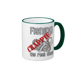 Fishing Crappie The Reel Deal Serious Fishing Ringer Coffee Mug