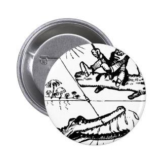 Fishing Croc. Pinback Buttons