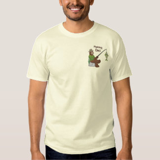 Fishing Dad Bear Embroidered T-Shirt