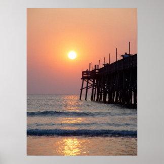 Fishing Daytona Beach Sunglow Pier Sunrise Poster