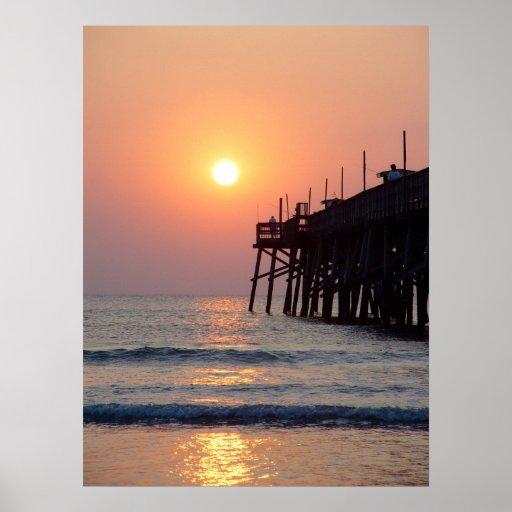 Fishing daytona beach sunglow pier sunrise poster zazzle for Daytona beach fishing pier