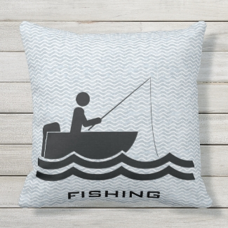 Fishing Design Outdoor Pillow