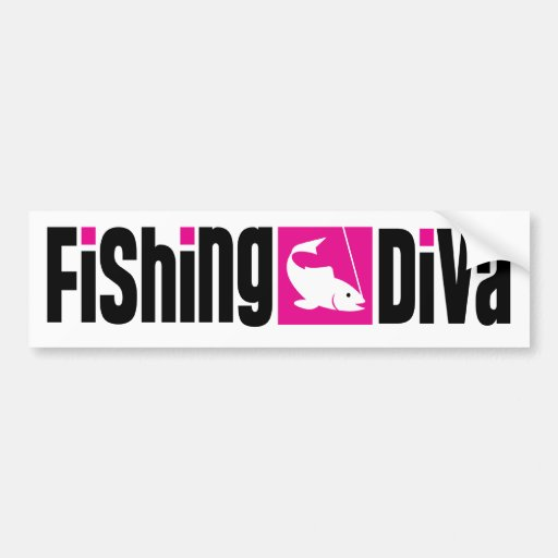 Fishing diva bumper sticker zazzle for Fishing car stickers