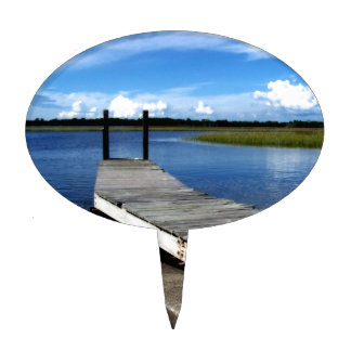 Fishing Dock Photograph Cake Topper
