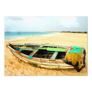 "Fishing Dory on the Beach 5"" X 7"" Invitation Card"
