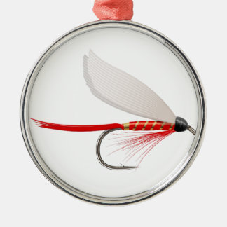 Fishing Dry Fly Red Metal Ornament