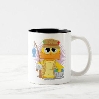 Fishing Duck Two-Tone Coffee Mug