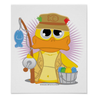 Fishing Duck Poster