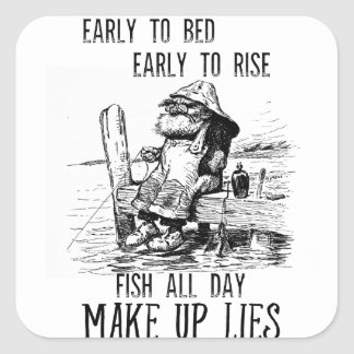 Fishing Early to bed Make up lies Square Sticker