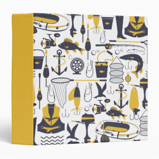 Fishing Equipment in Blue and Gold Binder