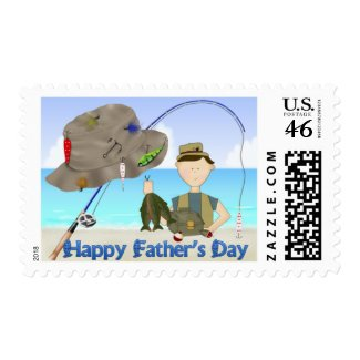 Fishing Father's Day Postage Stamps