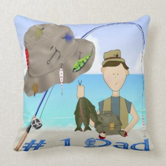 Fishing Father's Day Throw Pillow