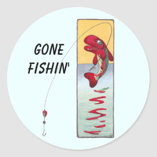 Fishing Fish Casts a Line Stickers