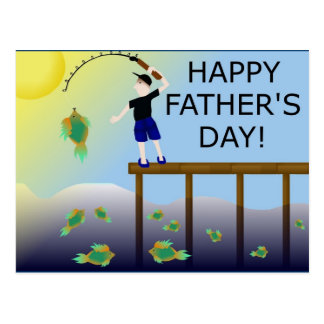 fishing fish father's day father dad postcard