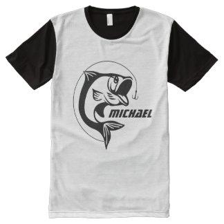 Fishing Fisherman Angler with Custom Name Monogram All-Over Print T-shirt
