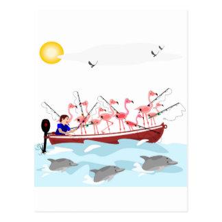 Fishing flamingos postcard