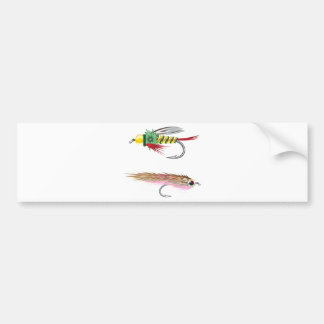 Fishing Flies lures Bug and Minnow Bumper Sticker