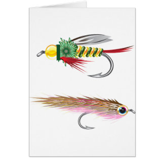 Fishing Flies lures Bug and Minnow Card