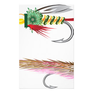 Fishing Flies lures Bug and Minnow Stationery