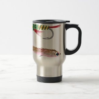 Fishing Flies lures Bug and Minnow Travel Mug