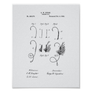 Fishing Fly 1892 Patent Art - White Paper Poster
