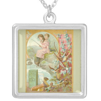 Fishing for Chocolate Silver Plated Necklace