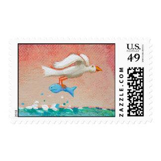 Fishing for dinner - Tiny Art #608 Bird & Fish art Stamp