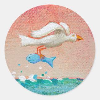 Fishing for dinner - Tiny Art #608 Bird & Fish art Round Stickers