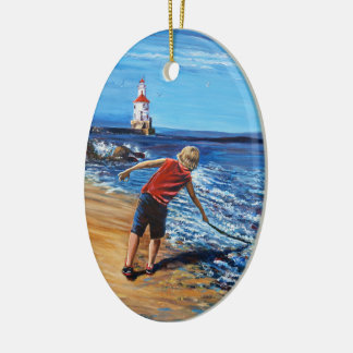 """""""Fishing For Dragons"""", Oval Ornament"""