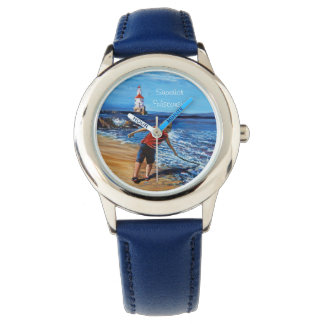Fishing For Dragons, Stainless Steel Blue Watch