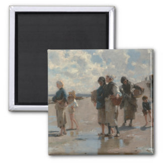 Fishing for Oysters at Cancale - John Sargent Fridge Magnet