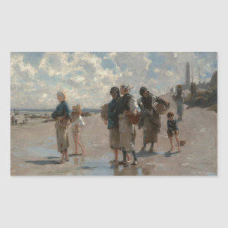 Fishing for Oysters at Cancale - John Sargent Rectangular Sticker