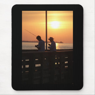 Fishing from pier in sunset mouse pad