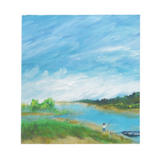 Fishing from the Beach - acrylic Scratch Pad