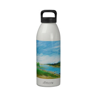 Fishing from the Beach - acrylic Reusable Water Bottles